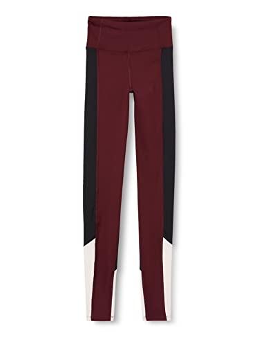 Marca Amazon - AURIQUE Bal1042 - Mallas de Entrenamiento Mujer, Rojo (Port Royale/Black/Blush), 34,...