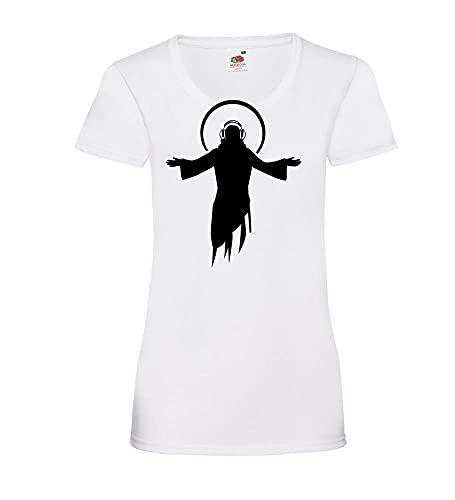 Shirt84.de DJ Jesus - Camiseta para mujer Blanco S