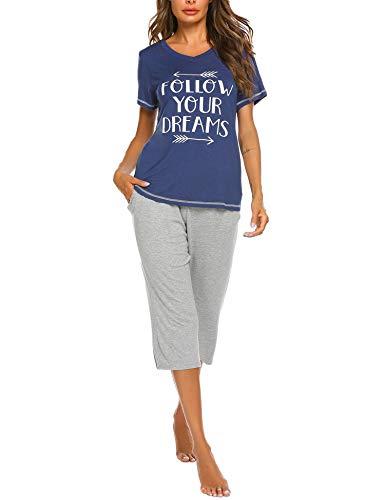 UNibelle Pijama De Dos Piezas Mujer Pijamas De Primavera Mujeres Cuello En V Ropa De Dormir 2 Piezas...