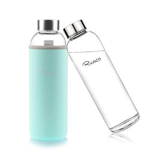Ryaco Botella de Agua Cristal 550ml, Botella de Agua Reutilizable 18 oz, Sin BPA Antideslizante...