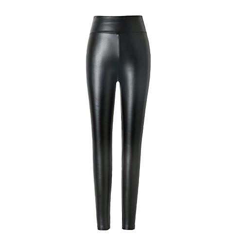 hitueu Leggings de Piel sintética para Mujer Leggings de Cintura Alta Pantalones Medias Leggins...