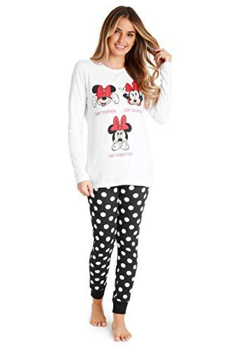 Disney Pijamas Mujer, Minnie Mouse Pijama Mujer Invierno, Conjunto 2 Piezas de Algodon Camiseta...