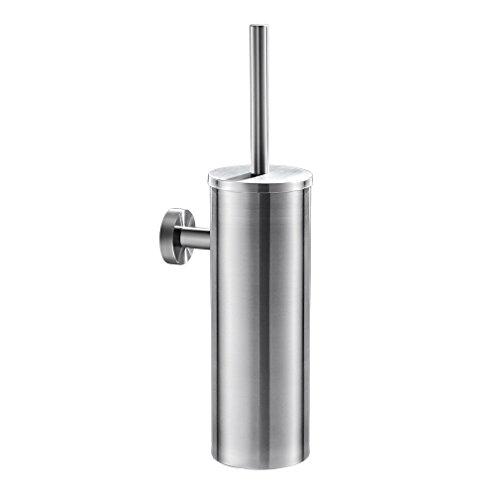 Auralum - Escobilla de baño de Pared Hecho de Acero Inoxidable Cepillado, Escobillero WC con Cerdas...