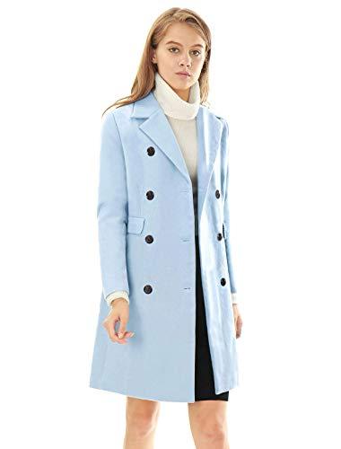 Allegra K Abrigo De Trinchera Gabardina Doble Hilera De Botones Solapa con Muescas para Mujer Azul S