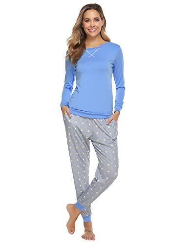 Hawiton Pijamas Mujer,Pijamas de algodón,Mangas Larga Camiseta y Pantalones de Lunares ondulados...