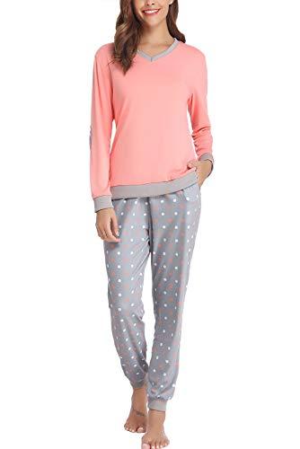 Hawiton Pijama Mujer Verano Largo Algodon Otoño Invierno Pantalones Camisetas Mangas Largas