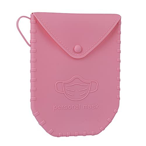 APLI - 18828 - Porta mascarillas de silicona con cierre de botón color ROSA-Portamascarilla con...