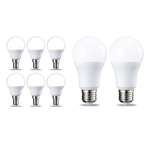 Amazon Basics Bombilla LED E14, P45, 5.5W (equivalente a 40W), Blanco Cálido- 6 unidades + Bombilla...