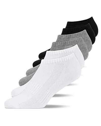 Snocks Calcetines Tobilleros Mujer Blanco (6x) Calcetines Cortos Mujer Paquete de 6 Negro Talla...