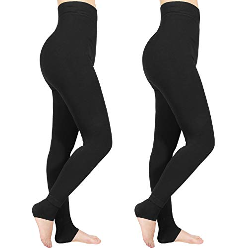 Emooqi Leggings Largas de Invierno para Mujer, Pack de 2 Leggings Cintura Alta, Leggings Térmicos...