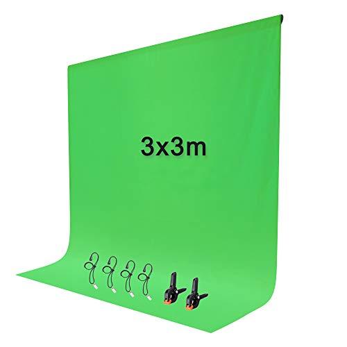 Fondo Fotográfico Croma 3*3M Pantalla Verde Fondo de Estudio Fotográfico con 2+4 Clips, Green...
