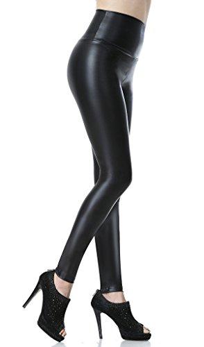 Everbellus Leggings de piel sintética para mujer, talle alto negro negro S