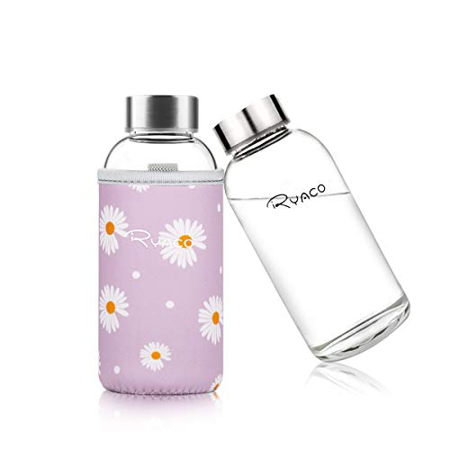Ryaco Botella de Agua Cristal 360ml, Botella de Agua Reutilizable 12 oz, Sin BPA Antideslizante...