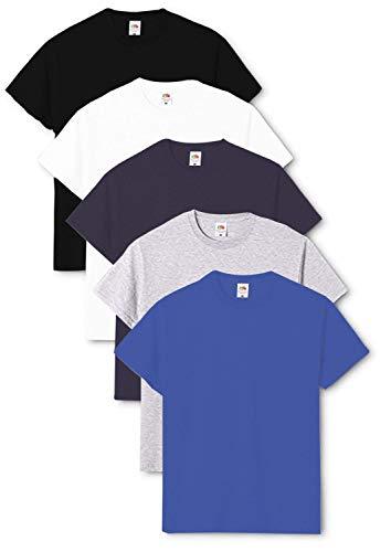 Fruit of the Loom Original - Camiseta de hombre cuello redondo (pack de 5) Negro/Blanco/Azul...