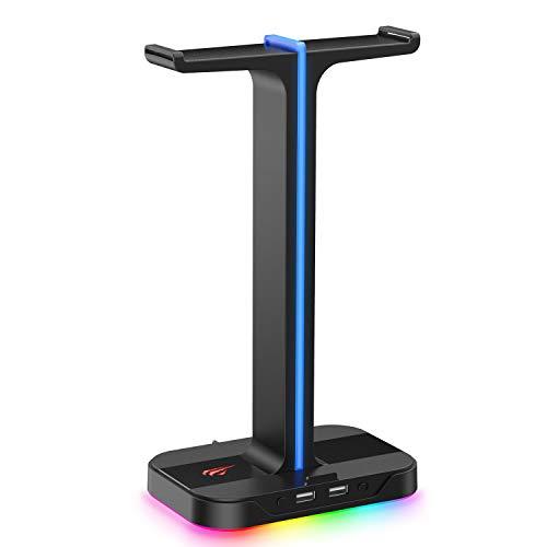 havit RGB Soporte de Cascos Gaming Dual con 2 Cargador USB,Soporte para Auriculares Gaming con 7...