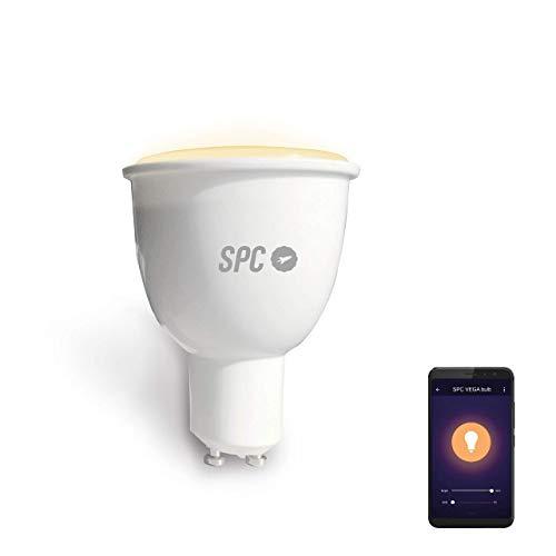 SPC Vega 380: Bombilla LED Wi-Fi E27, 10 W, 380 lm, iluminación inteligente, luz blanca regulable...