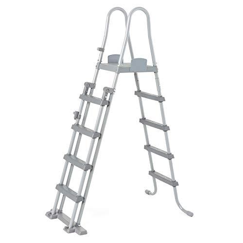 BESTWAY 58332 - Escalera para Piscina Desmontable de 132 cm de PVC y Metal Resistente a la...