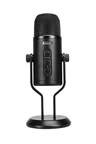 Amazon Basics - Micrófono de condensador profesional con USB, control de volumen y pantalla OLED,...