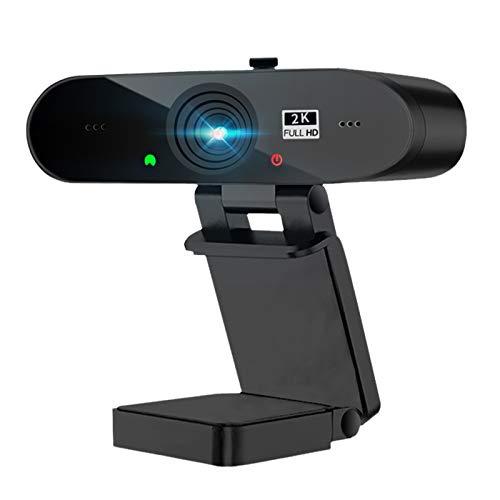 Webcam 2K Full HD con Micrófono Y Cubierta de privacidad, 1440P Webcam PC con Corrección de...