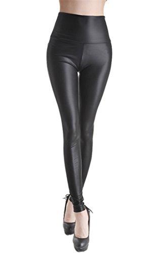 Ostenx Leggings de Piel Mujer Elásticos de Moda de PU Pantalones Largos y Delgados de Imitación de...