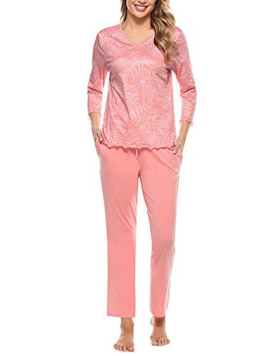 Irevial Pijamas para Mujer Invierno, Ropa de Dormir de algodón, Camiseta con Estampado de Flores y...