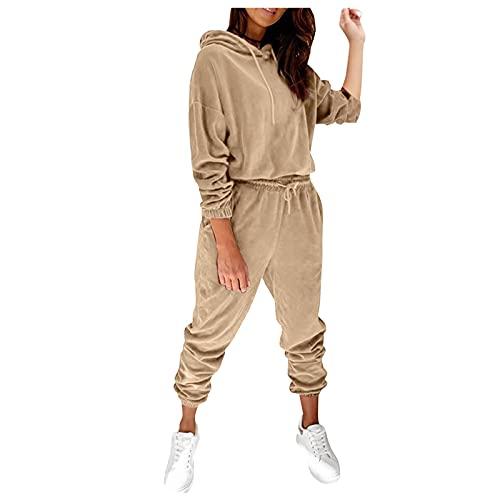 Zldhxyf Chándal para mujer, chándal deportivo con capucha y pantalón de chándal de 2 piezas,...