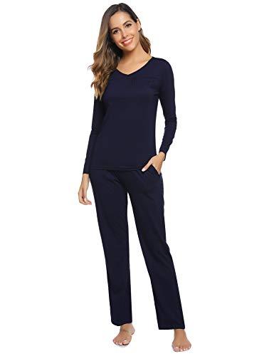 Aibrou Pijamas Mujer Algodón Invierno 2 Piezas,Ropa de Casa Dormir Casual Camiseta y Pantalones...