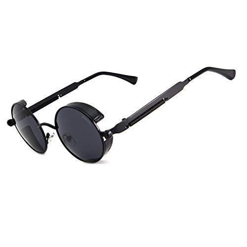 RONSOU Steampunk Estilo Redondo Vintage Polarizadas Gafas de Sol Retro Gafas UV400 Protección Metal...