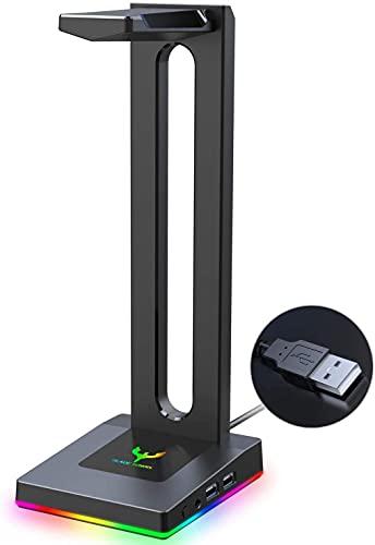 Blade Hawks RGB con AUX de 3,5 mm y 2 Cargador USB Soporte para Auriculares de Escritorio, válido...