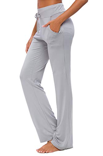 Pantalones De Yoga para Mujer con Bolsillos Cordón De Pierna Ancha Salón Recto Suelto Pantalones...