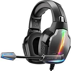 Cascos Gaming PS4, 4 Modos de Iluminación RGB y Orejeras Giratorias de 180°, Auriculares Estéreo...