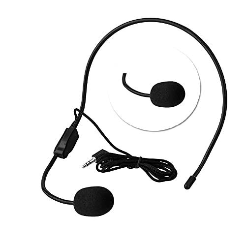 Tangxi Micrófono con Cable montado en la Cabeza 3.5mm Jack Condensador Mic para Amplificador de Voz...