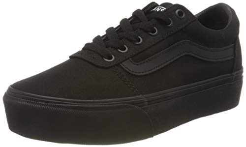 Vans Ward Platform Canvas, Sneaker Mujer, Lona Negra, 34.5 EU