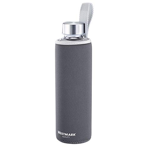 Westmark Botella para beber, De vidrio con impresión, Incl. cubierta protectora, 550 ml,...