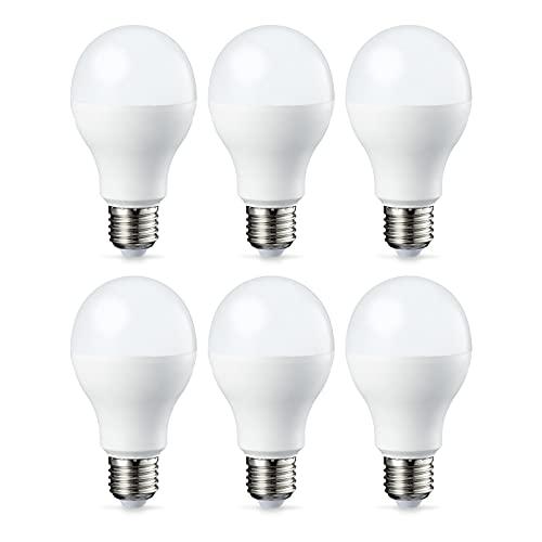Amazon Basics Bombilla LED Esférica E27, 14W (equivalente a 100W), Blanco Cálido - 6 unidades