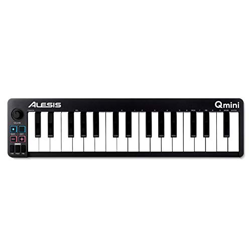 Alesis Qmini - Teclado controlador MIDI USB portátil de 32 teclas de acción sintetizador sensibles...