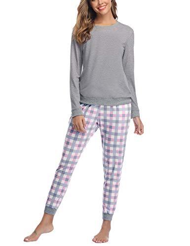 Aibrou Pijama Mujer Invierno de Algodón Conjuntos de Pijamas para Mujer Mangas Larga y Pantalones...