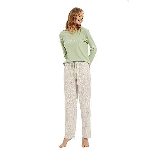 PimpamTex – Pijama de Mujer Invierno Algodón de Otoño-Invierno Camiseta Manga Larga y Pantalón...