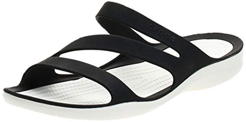 Crocs Swiftwater Sandal Women, Chanclas para Mujer, Negro (Black/White), 34/35 EU