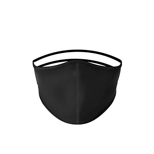 Mascarilla higiénica de tela negra lisa, reutilizable, lavable, unisex, talla adulto