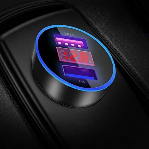YGKJ Cargador de Coche, Quick Charge 3.0+2.4A 30W Carga Rapida Doble Puertos USB Adaptador...