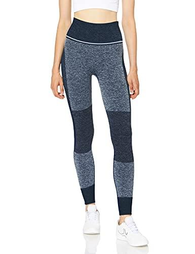 Marca Amazon - AURIQUE Mallas de Deporte sin Costuras de Tiro Alto Mujer, Azul (Dress Blue), 38,...