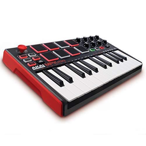 AKAI Professional MPK MINI MKII - Teclado controlador MIDI USB portátil con 25 teclas, 8 pads MPC,...