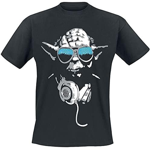 Star Wars DJ Yoda Cool Camiseta, Negro, Medium para Hombre