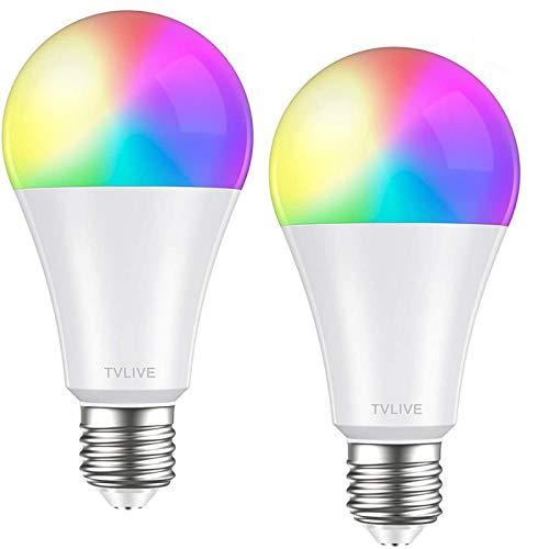 Bombilla LED Inteligente WiFi, TVLIVE 2 Pack 10W E27 Bombilla LED Luces Cálidas/Frías & RGB,...
