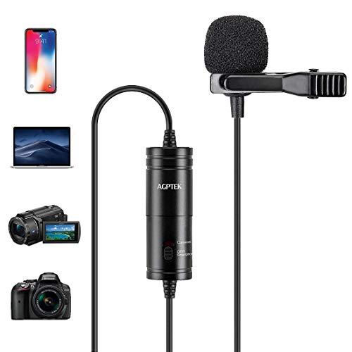 AGPTEK Z05 Micrófono de Solapa, Omnidireccional Micrófono de Condensador con 6M Cable para Móvil,...