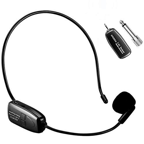 XIAOKOA 2.4G micrófono inalámbrico, la transmisión inalámbrica estable 40m,auriculares y de mano...