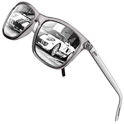 GQUEEN Gafas de sol Hombre Polarizadas,Gafas de sol mujer Al-Mg Clásico Retro UV400 GQ33