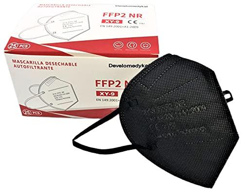 DEVELOMEDYKAL 25 Mascarillas FFP2 Homologada CE, Mascara Negra Adulto, Protector Facial desechable...