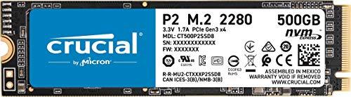 Crucial P2 CT500P2SSD8 Disco Duro sólido Interno SSD de 500GB, de hasta 2400 MB/s (3D NAND, NVMe,...